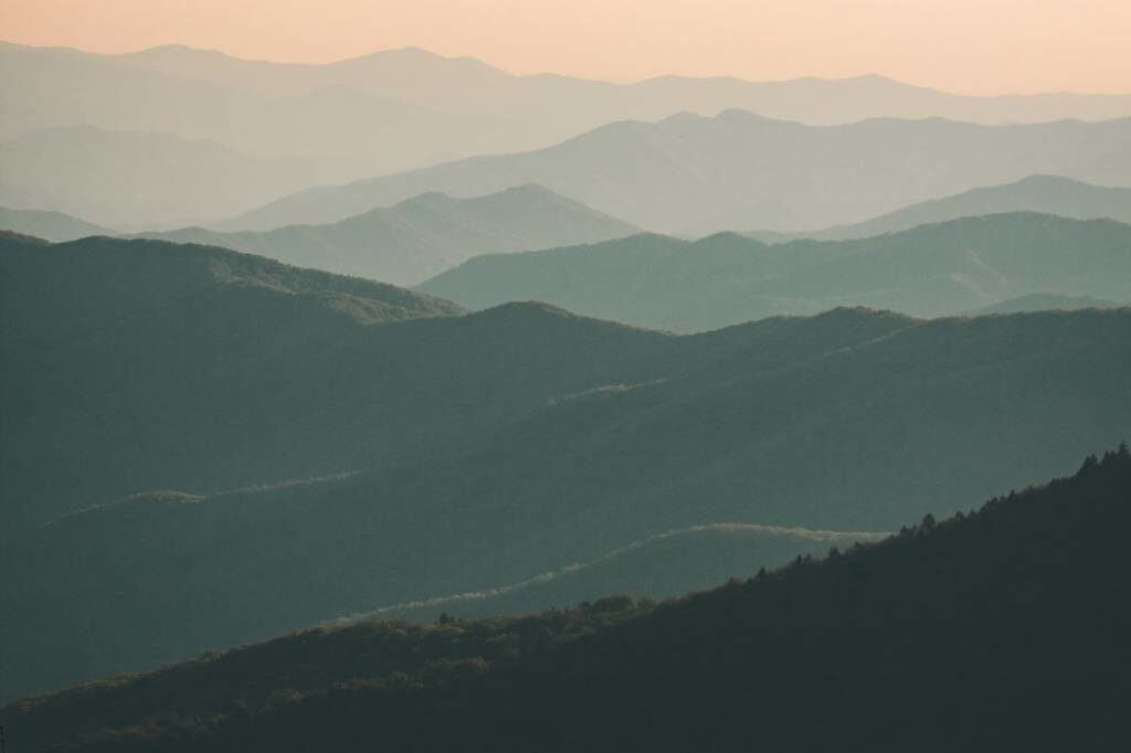 great smoky mountain photograph at dusk