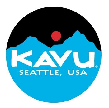 Kavu logo with blue mountains, black circle and red sun.